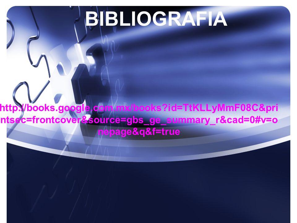http://books.google.com.mx/books?id=TtKLLyMmF08C&pri ntsec=frontcover&source=gbs_ge_summary_r&cad=0#v=o nepage&q&f=true BIBLIOGRAFIA