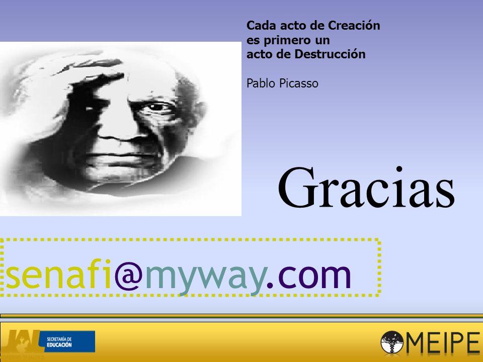 Gracias Cada acto de Creación es primero un acto de Destrucción Pablo Picasso senafi@myway.com