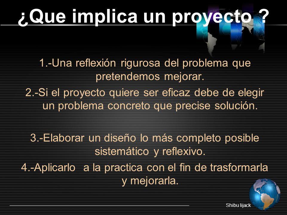 ¿Que implica un proyecto .1.-Una reflexión rigurosa del problema que pretendemos mejorar.