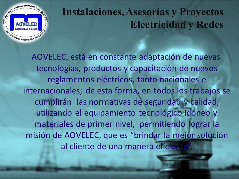 Instalaciones, Asesorías y Proyectos Electricidad y Redes AOVELEC, es una empresa con 16 años de experiencia en el rubro eléctrico. Ha sido liderada p