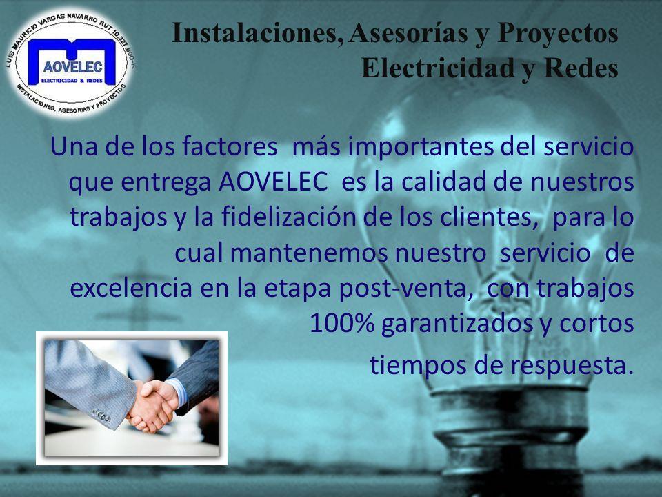 Instalaciones, Asesorías y Proyectos Electricidad y Redes AOVELEC, está en constante adaptación de nuevas tecnologías, productos y capacitación de nue