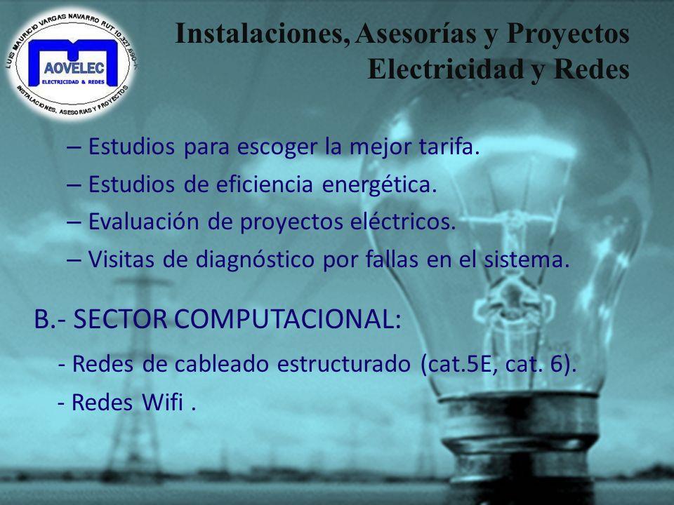 Instalaciones, Asesorías y Proyectos Electricidad y Redes NUESTROS SERVICIOS: A.- SECTOR ELÉCTRICO – Instalaciones eléctricas domiciliarias y empresas