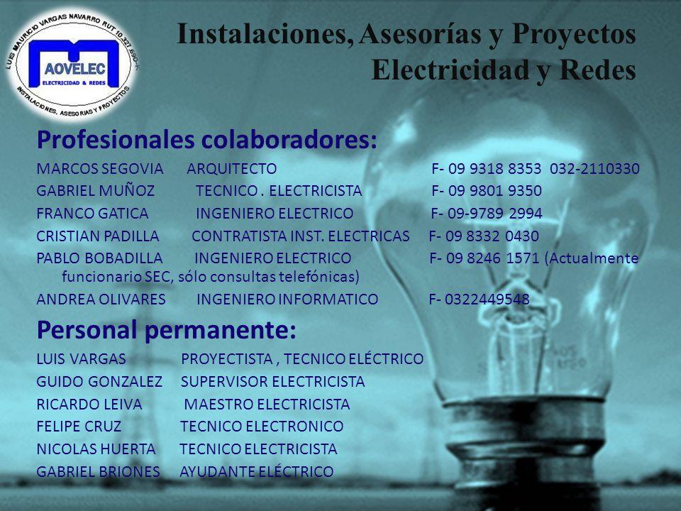 Instalaciones, Asesorías y Proyectos Electricidad y Redes Nuestros Clientes y Últimos trabajos: -MAGSOL ARQUITECTURA Y CONSTRUCCIÓN LTDA. -SESTRI ARQU
