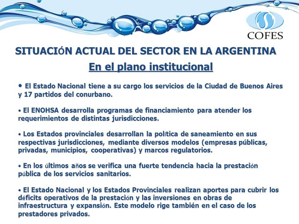 SITUACI Ó N ACTUAL DEL SECTOR EN LA ARGENTINA En el plano institucional El Estado Nacional tiene a su cargo los servicios de la Ciudad de Buenos Aires y 17 partidos del conurbano.