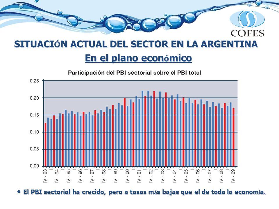 SITUACI Ó N ACTUAL DEL SECTOR EN LA ARGENTINA En el plano econ ó mico El PBI sectorial ha crecido, pero a tasas m á s bajas que el de toda la econom í