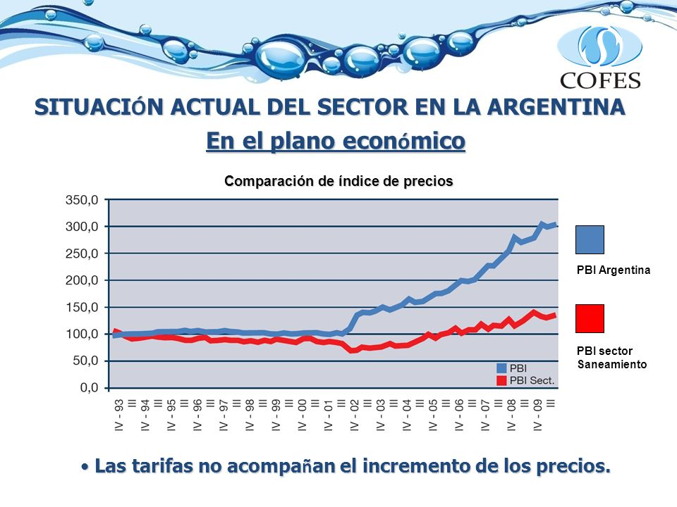 SITUACI Ó N ACTUAL DEL SECTOR EN LA ARGENTINA En el plano econ ó mico Las tarifas no acompa ñ an el incremento de los precios. Las tarifas no acompa ñ