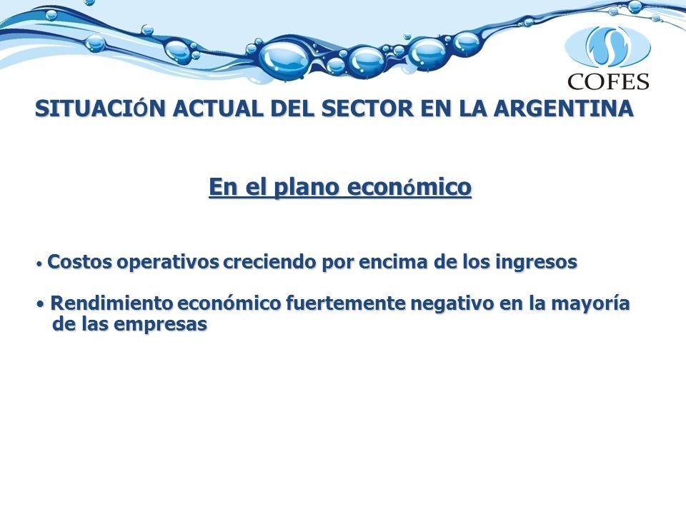 SITUACI Ó N ACTUAL DEL SECTOR EN LA ARGENTINA En el plano econ ó mico Costos operativos creciendo por encima de los ingresos Costos operativos crecien