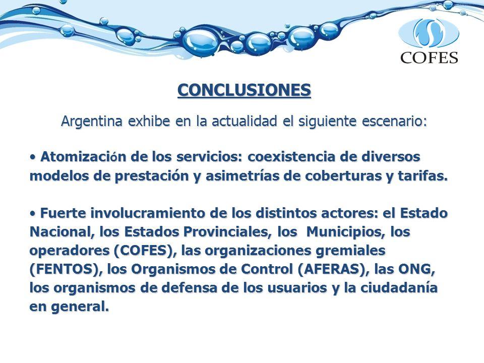 CONCLUSIONES Argentina exhibe en la actualidad el siguiente escenario: Atomizaci ó n de los servicios: coexistencia de diversos modelos de prestación