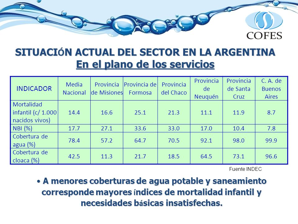 SITUACI Ó N ACTUAL DEL SECTOR EN LA ARGENTINA En el plano de los servicios * Censo INDEC 2001 ** Relevamiento Enohsa 2009 Año 2001* Año 2009** POBLACIÓN SIN SERVICIO Población con acceso al agua potable 83,12 %87,16 % 6.000.000 habitantes Población con acceso a desagües cloacales 50,26 %59,09 % 17.000.000 habitantes Atraso en el cumplimiento de las Metas del Milenio en Saneamiento Inversiones necesarias para alcanzar las metas al 2015: aprox.