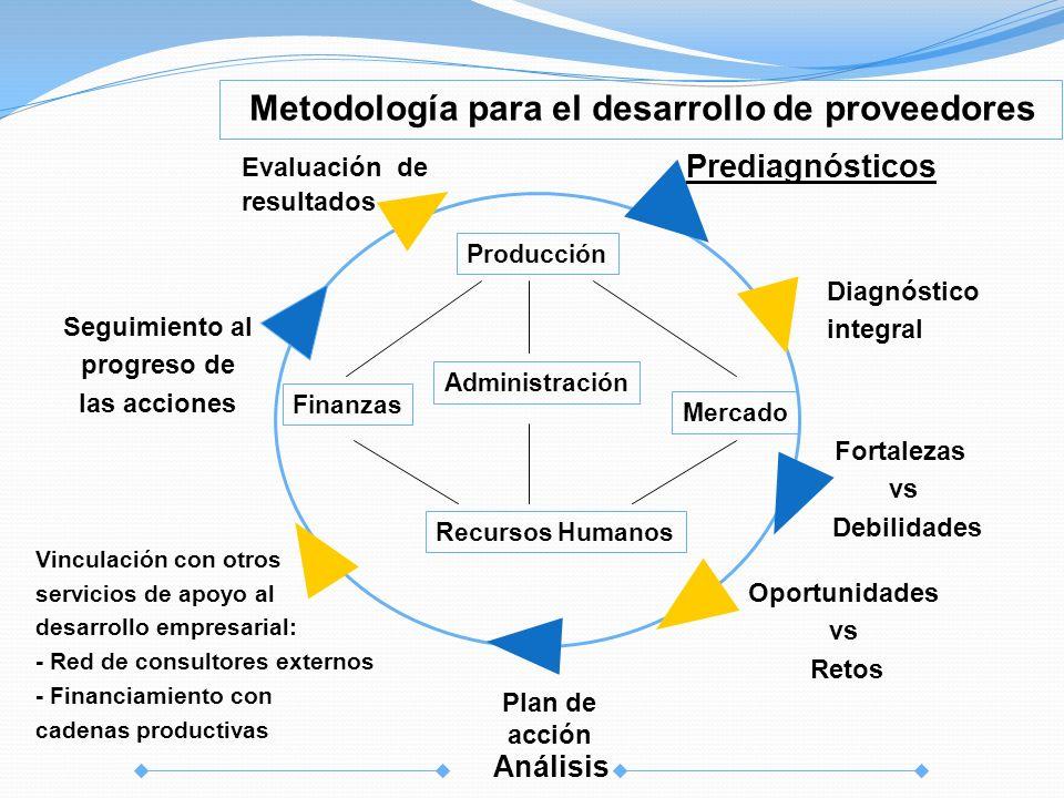 Vinculación con otros servicios de apoyo al desarrollo empresarial: - Red de consultores externos - Financiamiento con cadenas productivas Prediagnóst