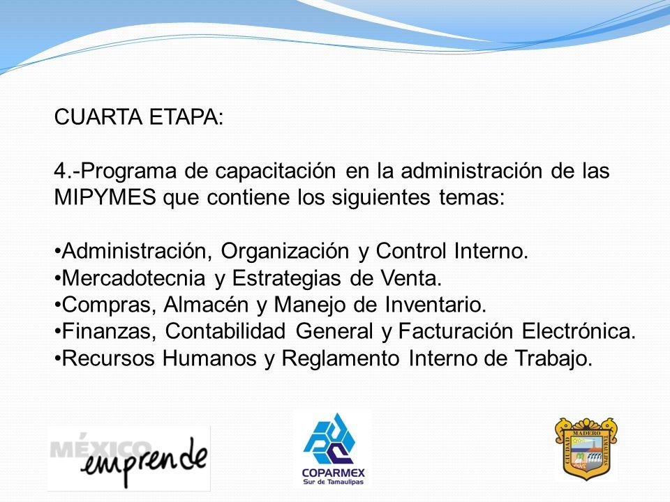 CUARTA ETAPA: 4.-Programa de capacitación en la administración de las MIPYMES que contiene los siguientes temas: Administración, Organización y Contro