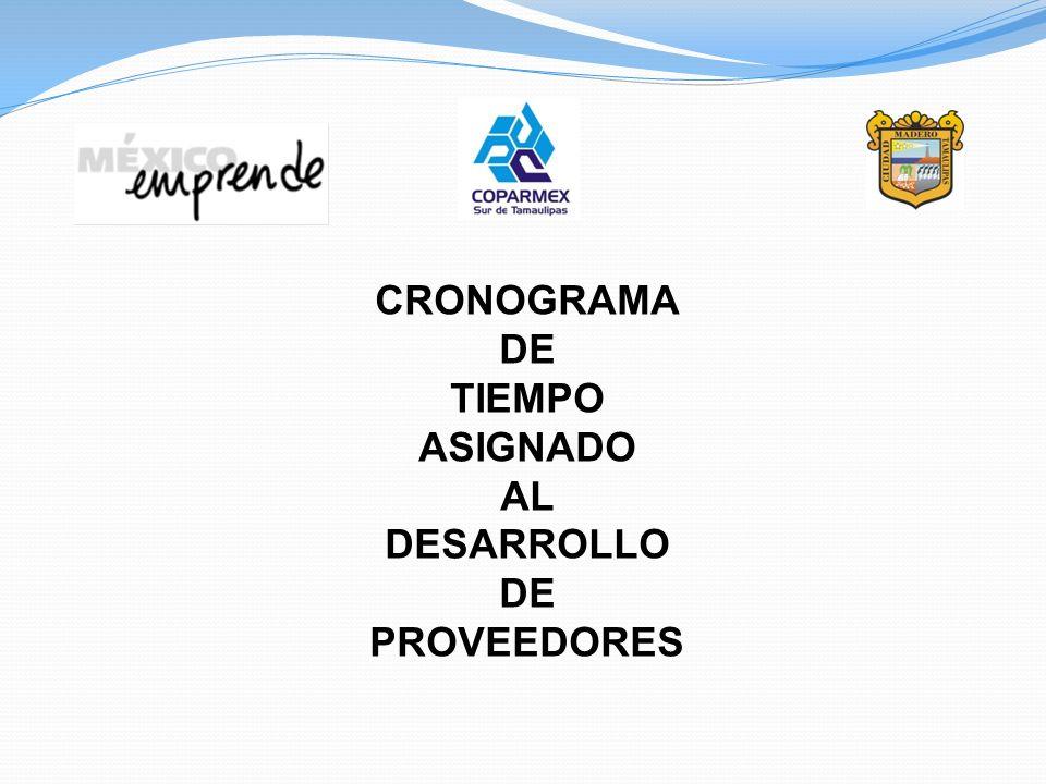 CRONOGRAMA DE TIEMPO ASIGNADO AL DESARROLLO DE PROVEEDORES