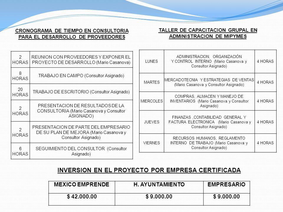 CRONOGRAMA DE TIEMPO EN CONSULTORIA PARA EL DESARROLLO DE PROVEEDORES 2 HORAS REUNION CON PROVEEDORES Y EXPONER EL PROYECTO DE DESARROLLO (Mario Casan