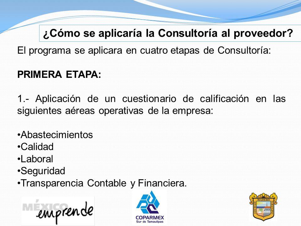 ¿Cómo se aplicaría la Consultoría al proveedor? El programa se aplicara en cuatro etapas de Consultoría: PRIMERA ETAPA: 1.- Aplicación de un cuestiona