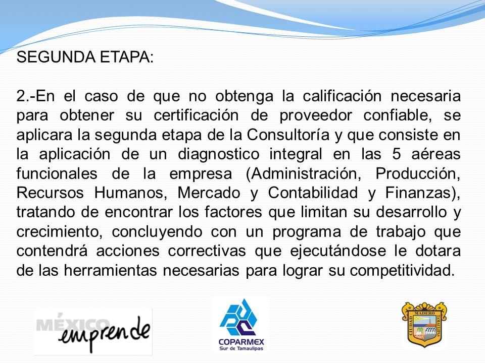 SEGUNDA ETAPA: 2.-En el caso de que no obtenga la calificación necesaria para obtener su certificación de proveedor confiable, se aplicara la segunda