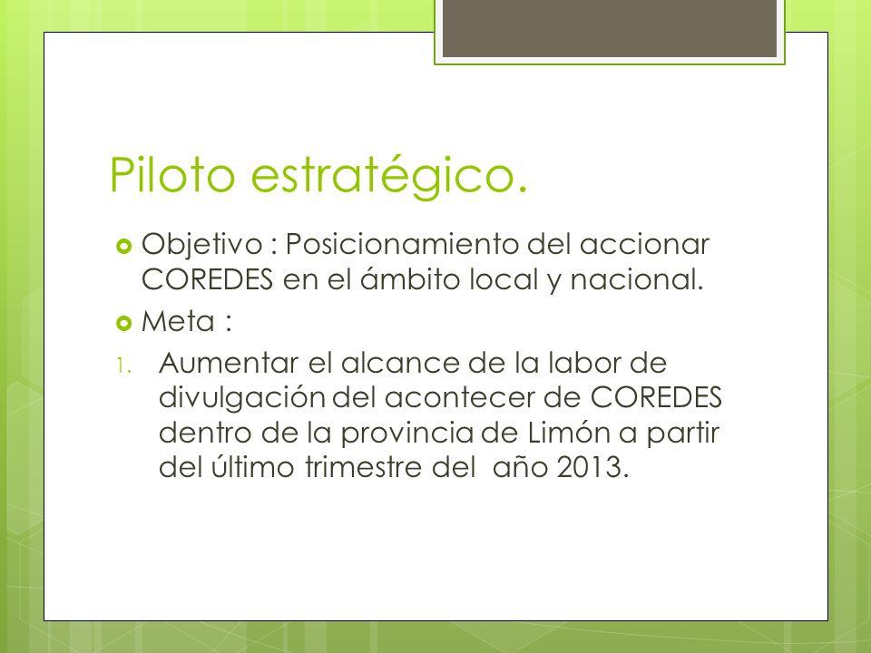 Piloto estratégico. Objetivo : Posicionamiento del accionar COREDES en el ámbito local y nacional.