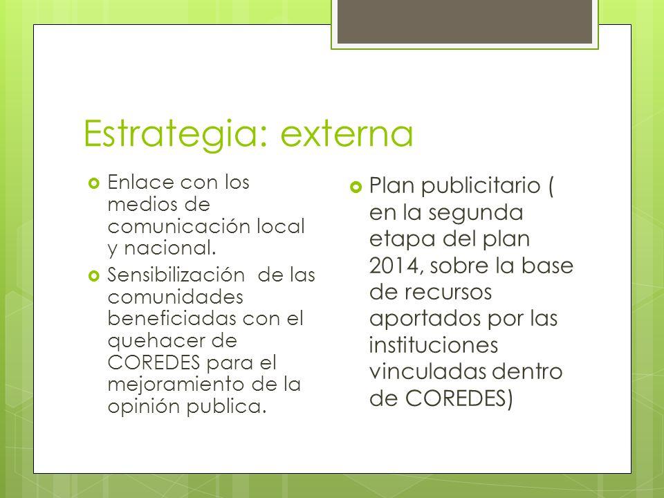 Estrategia: externa Enlace con los medios de comunicación local y nacional.
