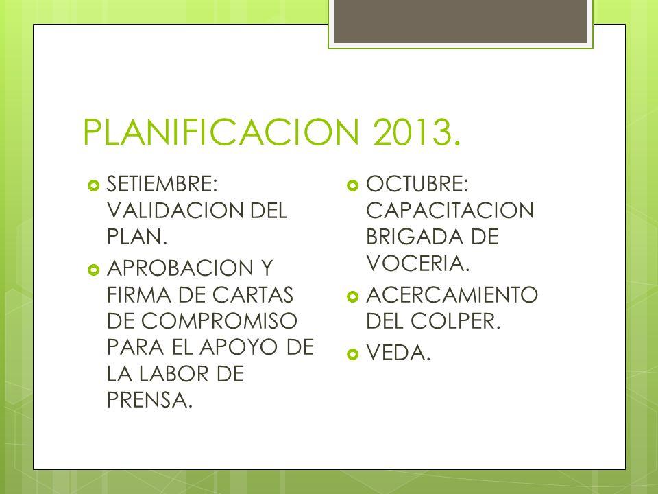 PLANIFICACION 2013. SETIEMBRE: VALIDACION DEL PLAN.
