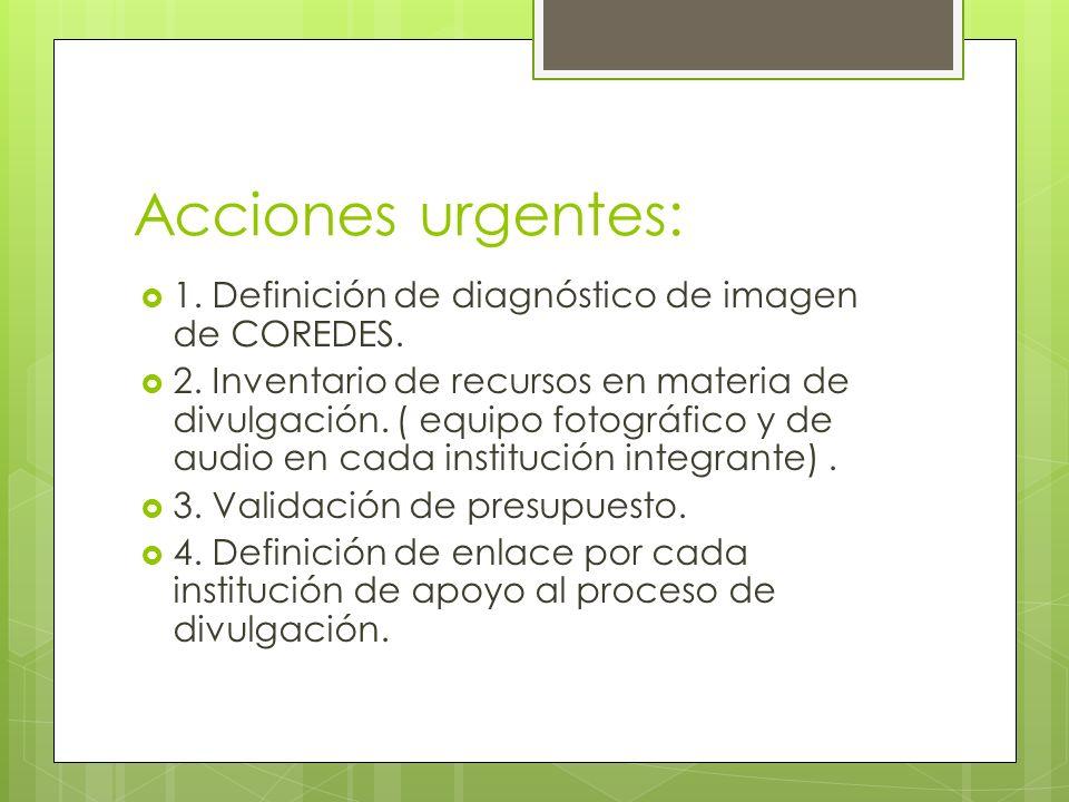 Acciones urgentes: 1. Definición de diagnóstico de imagen de COREDES.