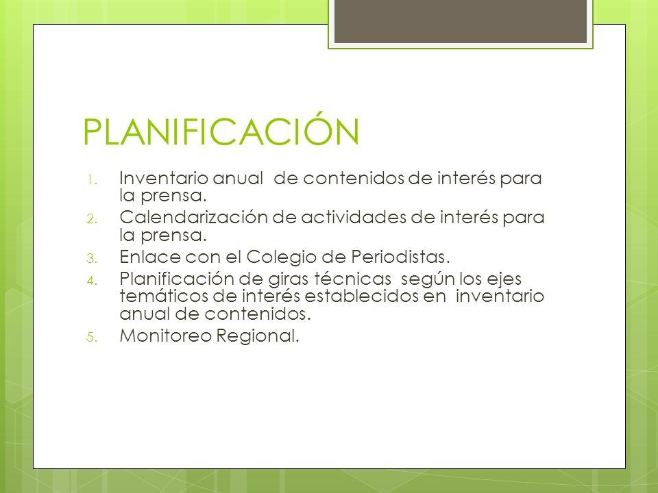PLANIFICACIÓN 1. Inventario anual de contenidos de interés para la prensa.