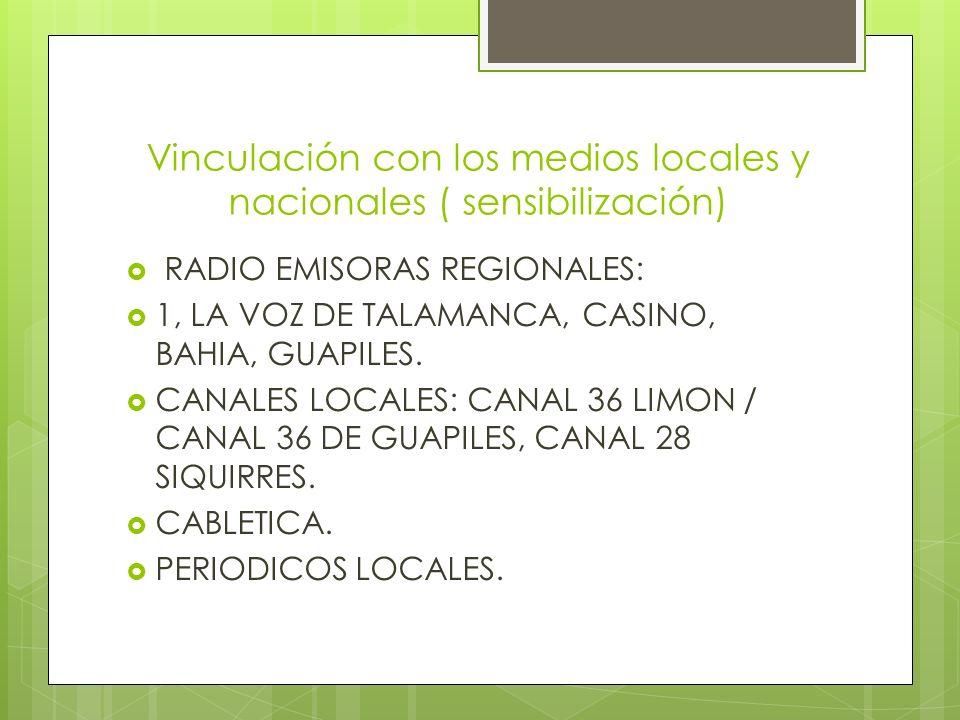 Vinculación con los medios locales y nacionales ( sensibilización) RADIO EMISORAS REGIONALES: 1, LA VOZ DE TALAMANCA, CASINO, BAHIA, GUAPILES.