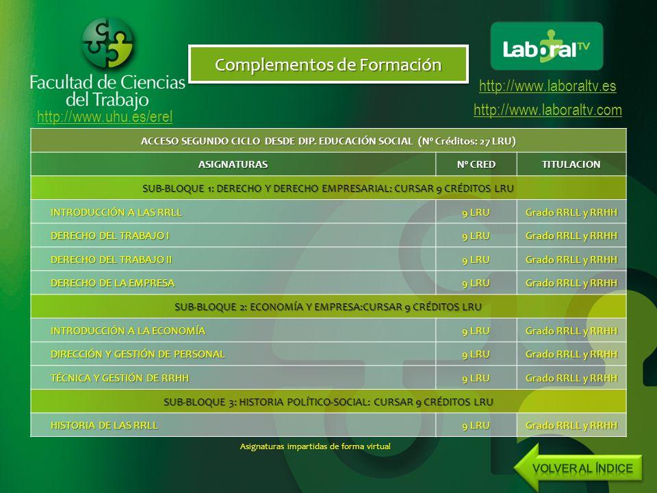 http://www.uhu.es/erel http://www.laboraltv.es http://www.laboraltv.com Complementos de Formación ACCESO SEGUNDO CICLO DESDE DIP.