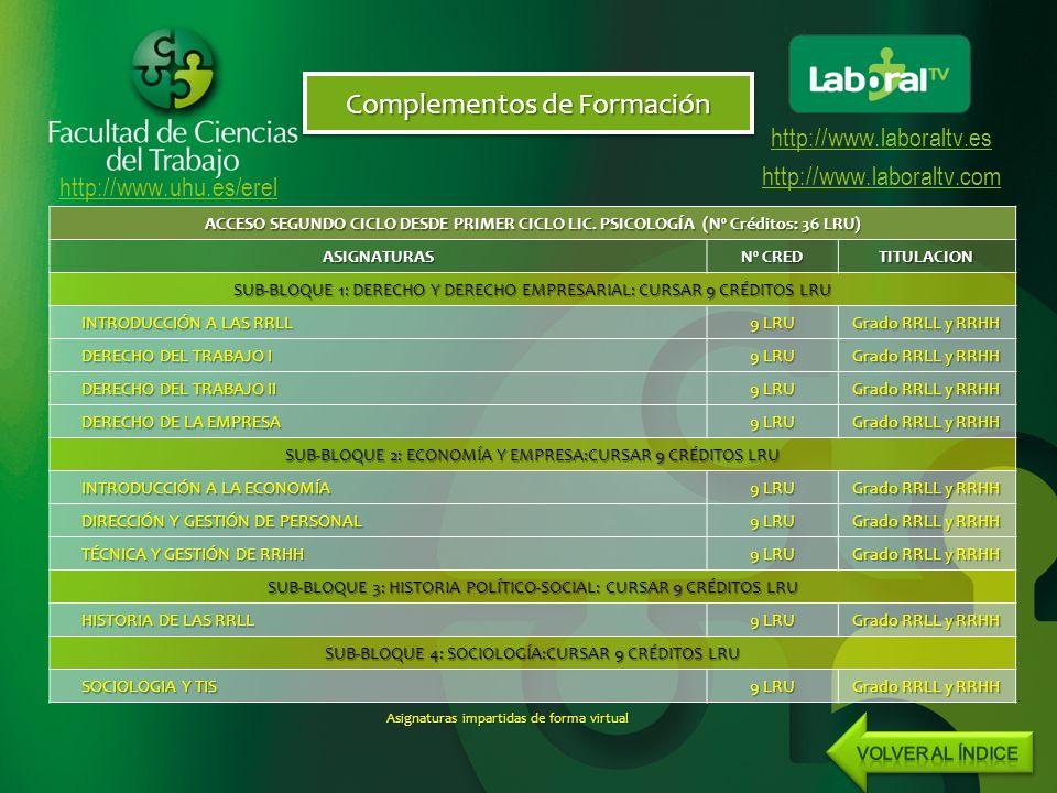 http://www.uhu.es/erel http://www.laboraltv.es http://www.laboraltv.com Complementos de Formación ACCESO SEGUNDO CICLO DESDE PRIMER CICLO LIC.