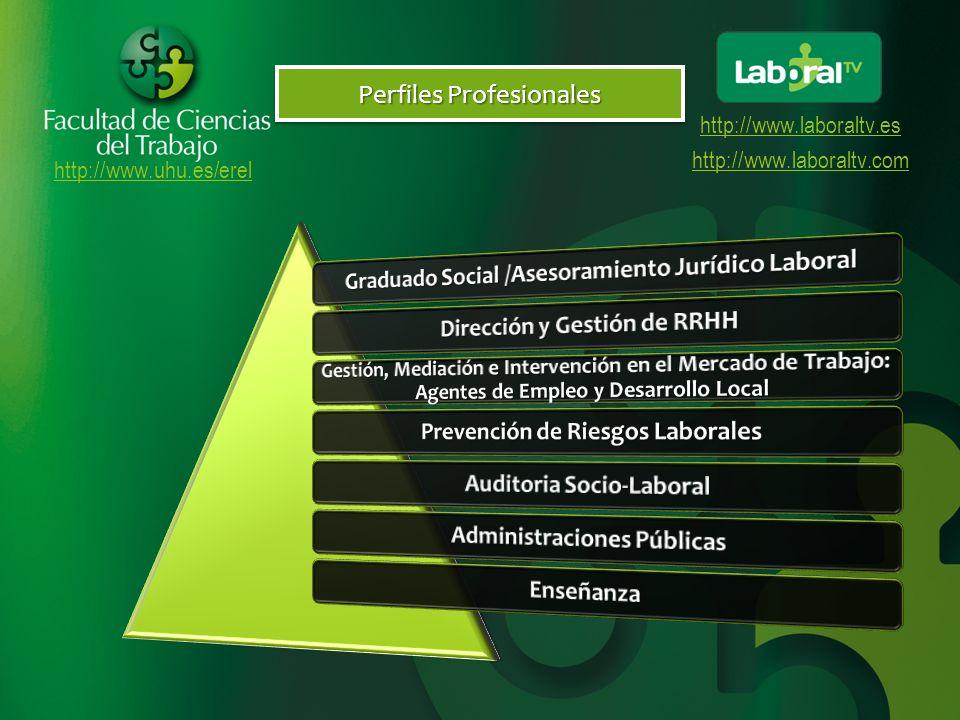 http://www.uhu.es/erel http://www.laboraltv.es http://www.laboraltv.com Nuestros Sellos de Calidad El precio del crédito en el curso 2010/2011 fue 11,70El precio del crédito en el curso 2010/2011 fue 11,70 Precios Públicos Nuestra Televisión: LaboralTV (Entra en LaboralTV)Nuestra Televisión: LaboralTV (Entra en LaboralTV)Entra en LaboralTVEntra en LaboralTV Utilización de Pizarras VirtualesUtilización de Pizarras Virtuales Utilización de Polimedia (Ejemplo)Utilización de Polimedia (Ejemplo)Ejemplo Videoconferencias (Ejemplo)Videoconferencias (Ejemplo)Ejemplo Facebook (Entra en nuestro Facebook)Facebook (Entra en nuestro Facebook)Entra en nuestro FacebookEntra en nuestro Facebook Utilización de las nuevas tecnologías Unidad de Apoyo a la Enseñanza VirtualUnidad de Apoyo a la Enseñanza Virtual Exámenes concentrados en fines de semana para los alumnos virtualesExámenes concentrados en fines de semana para los alumnos virtuales Atención personalizada Sólo es obligatoria la presencialidad en el examenSólo es obligatoria la presencialidad en el examen No Presencialidad El alumno podrá realizar los exámenes en distintas sedes (Coruña, Huelva, Las Palmas y Tenerife)El alumno podrá realizar los exámenes en distintas sedes (Coruña, Huelva, Las Palmas y Tenerife) Distintas Sedes