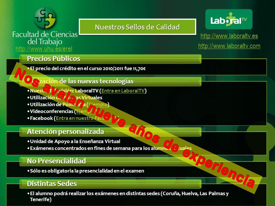 http://www.uhu.es/erel http://www.laboraltv.es http://www.laboraltv.com Plan de Estudios CURSO Tipo de Matricula TroncalesObligatoriasOptativas Libre Configuración Totales 1 er CURSO 4312121567+LC 2º CURSO 23212468+LC TOTALES66333615150 PRIMER CURSO PRIMER CUATRIMESTRE SEGUNDO CUATRIMESTRE MATERIAS TIPO CRÉDITOS MATERIAS TIPO CRÉDITOS TEÓR.