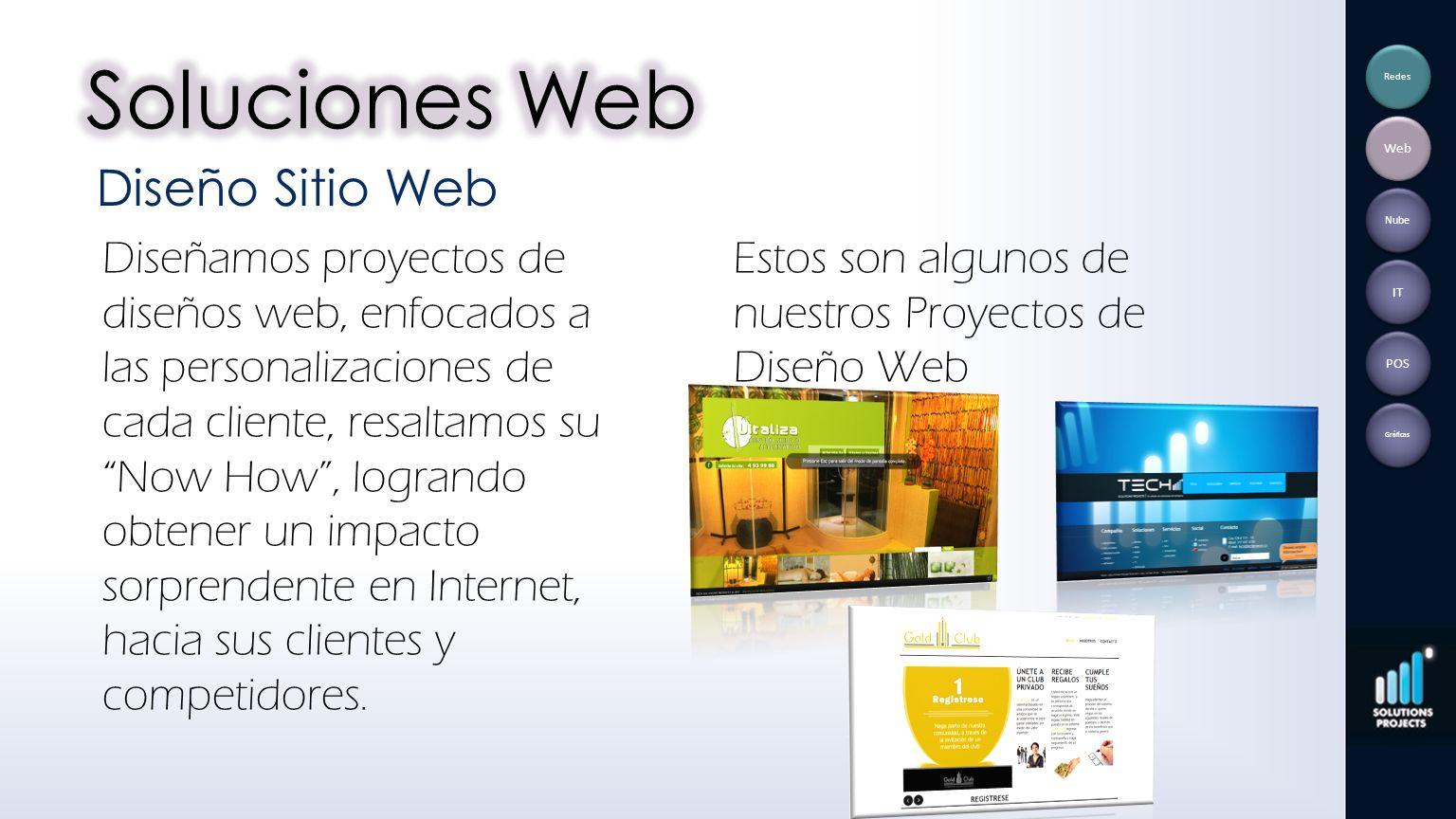 Diseñamos proyectos de diseños web, enfocados a las personalizaciones de cada cliente, resaltamos su Now How, logrando obtener un impacto sorprendente