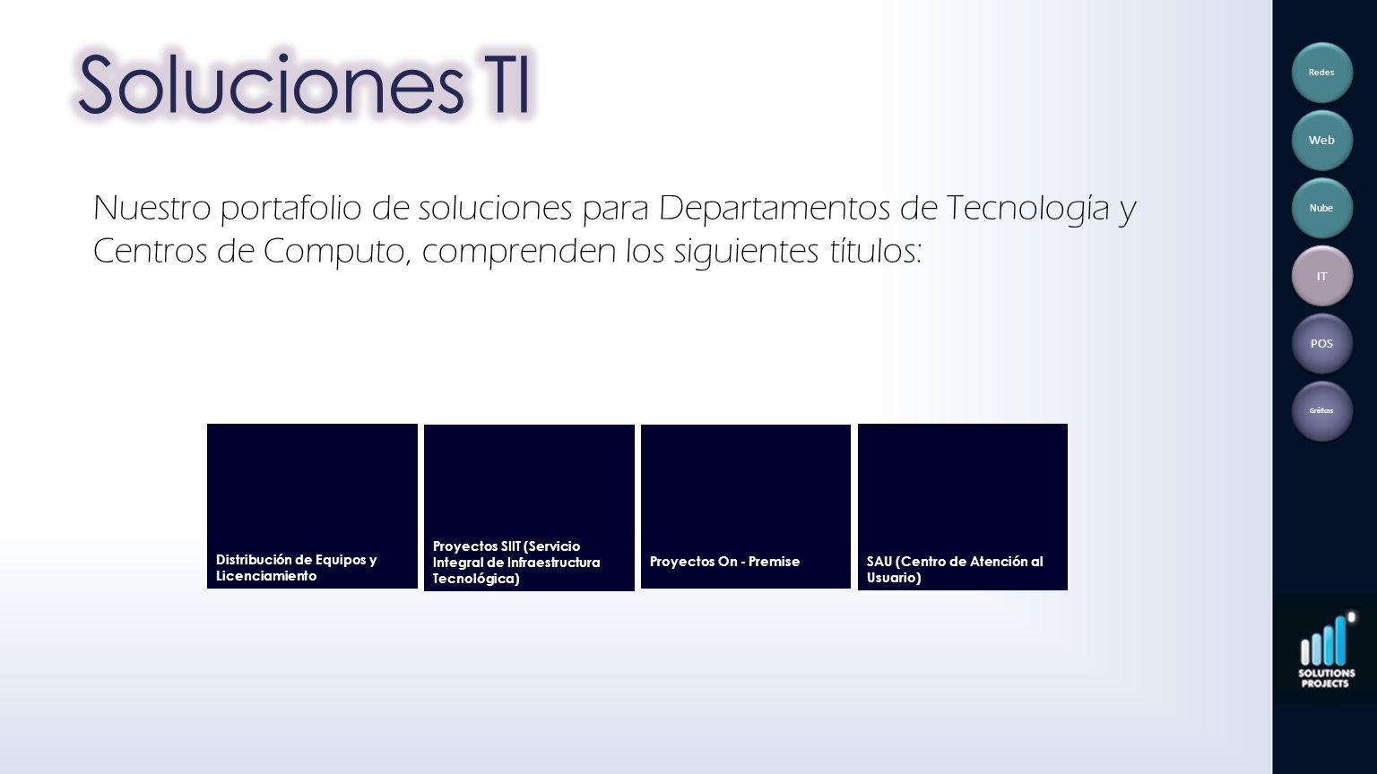 Nuestro portafolio de soluciones para Departamentos de Tecnología y Centros de Computo, comprenden los siguientes títulos: Distribución de Equipos y L