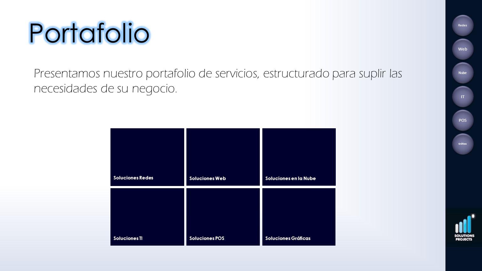 Presentamos nuestro portafolio de servicios, estructurado para suplir las necesidades de su negocio. Soluciones WebSoluciones en la NubeSoluciones TI