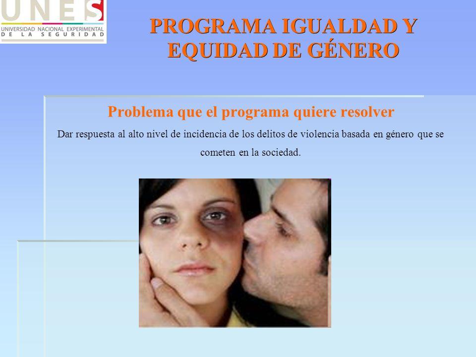 PROGRAMA IGUALDAD Y EQUIDAD DE GÉNERO Problema que el programa quiere resolver Dar respuesta al alto nivel de incidencia de los delitos de violencia b