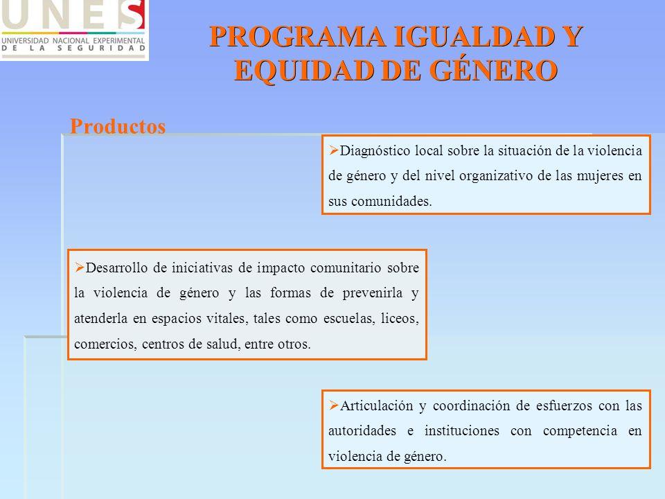 PROGRAMA IGUALDAD Y EQUIDAD DE GÉNERO Productos Diagnóstico local sobre la situación de la violencia de género y del nivel organizativo de las mujeres