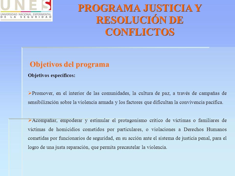 PROGRAMA JUSTICIA Y RESOLUCIÓN DE CONFLICTOS Objetivos del programa Objetivos específicos: Promover, en el interior de las comunidades, la cultura de