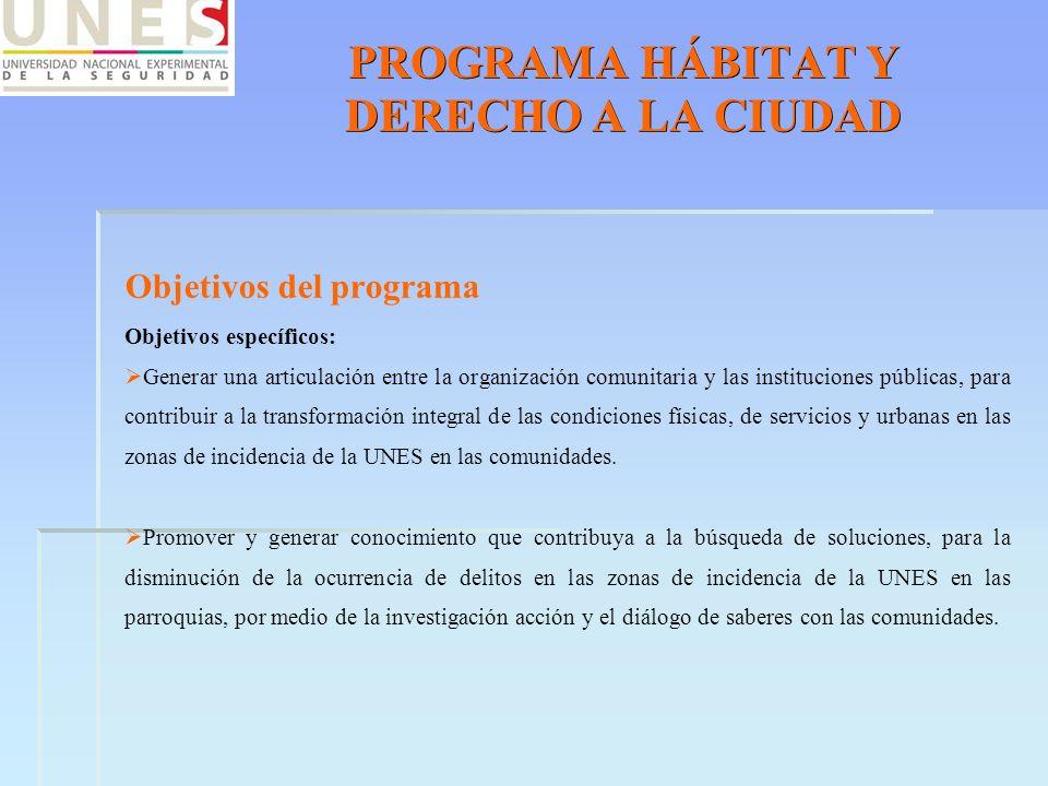 PROGRAMA HÁBITAT Y DERECHO A LA CIUDAD Objetivos del programa Objetivos específicos: Generar una articulación entre la organización comunitaria y las