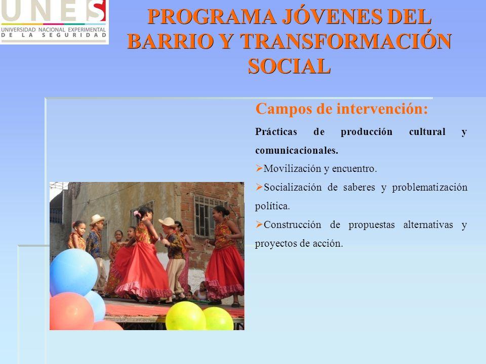 PROGRAMA JÓVENES DEL BARRIO Y TRANSFORMACIÓN SOCIAL Campos de intervención: Prácticas de producción cultural y comunicacionales. Movilización y encuen