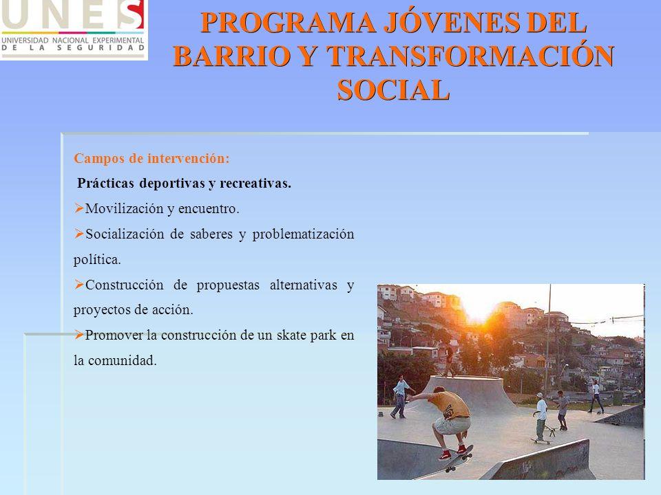 PROGRAMA JÓVENES DEL BARRIO Y TRANSFORMACIÓN SOCIAL Campos de intervención: Prácticas deportivas y recreativas. Movilización y encuentro. Socializació