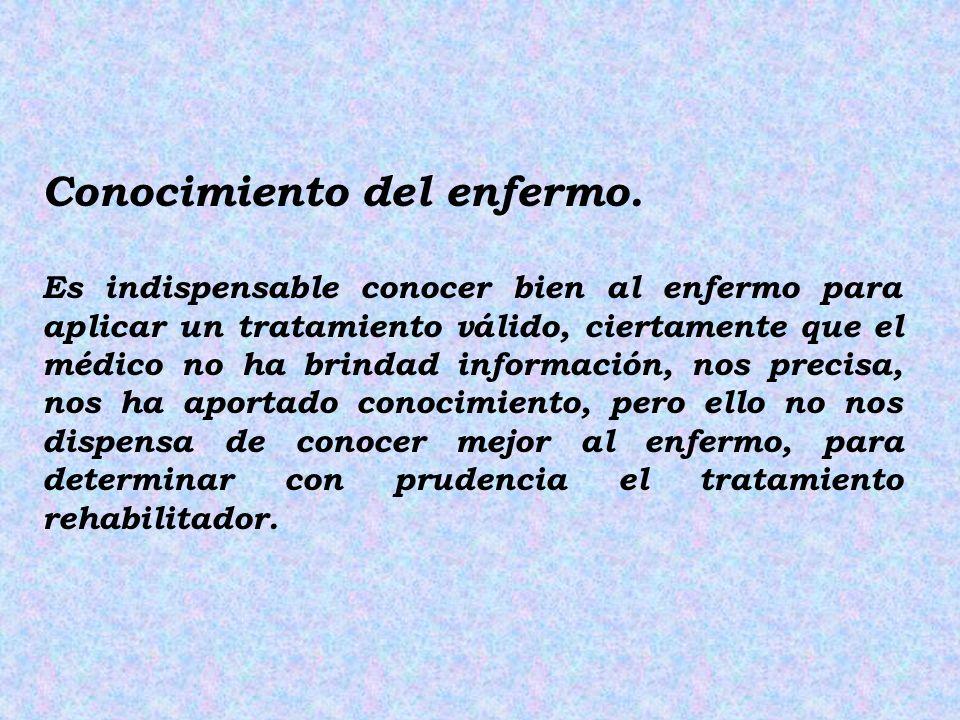 Conocimiento del enfermo. Es indispensable conocer bien al enfermo para aplicar un tratamiento válido, ciertamente que el médico no ha brindad informa