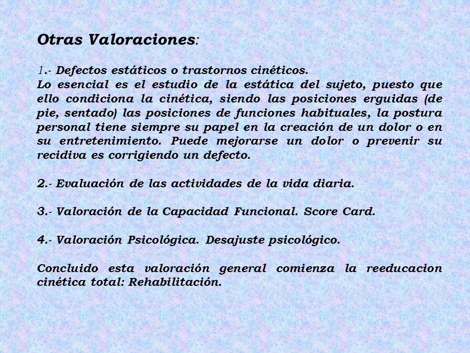 Otras Valoraciones : 1.- Defectos estáticos o trastornos cinéticos. Lo esencial es el estudio de la estática del sujeto, puesto que ello condiciona la