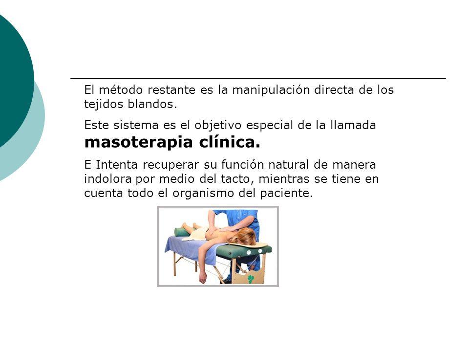 El método restante es la manipulación directa de los tejidos blandos. Este sistema es el objetivo especial de la llamada masoterapia clínica. E Intent