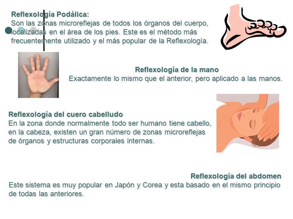 Reflexología Podálica: Son las zonas microreflejas de todos los órganos del cuerpo, localizadas en el área de los pies. Este es el método más frecuent
