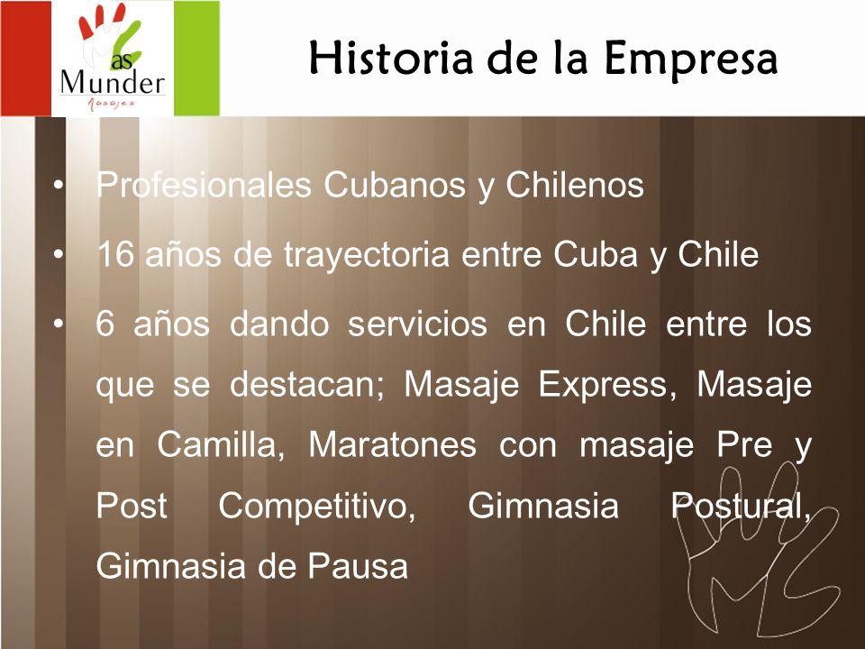 Profesionales Cubanos y Chilenos 16 años de trayectoria entre Cuba y Chile 6 años dando servicios en Chile entre los que se destacan; Masaje Express,