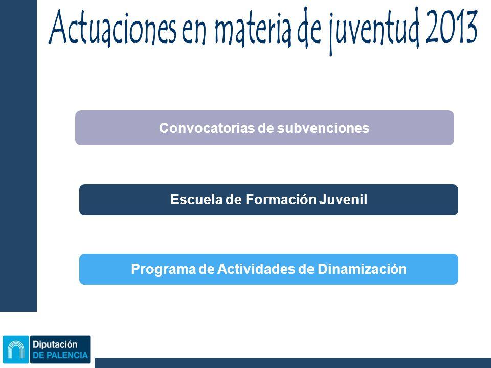 Convocatorias de subvenciones Escuela de Formación Juvenil Programa de Actividades de Dinamización