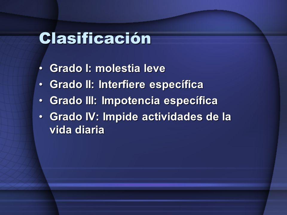 Clasificación Grado I: molestia leveGrado I: molestia leve Grado II: Interfiere específicaGrado II: Interfiere específica Grado III: Impotencia especí