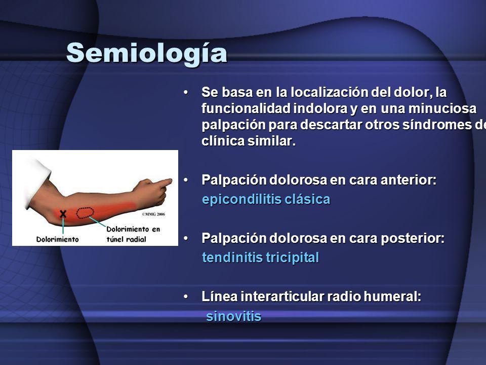 Semiología Se basa en la localización del dolor, la funcionalidad indolora y en una minuciosa palpación para descartar otros síndromes de clínica simi