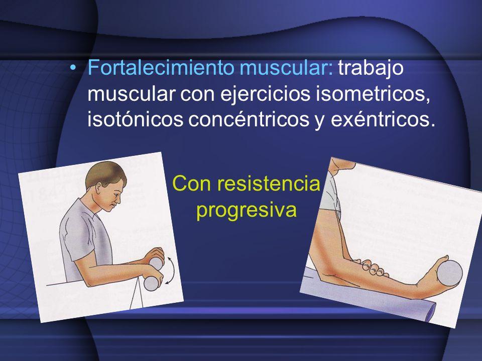 Con resistencia progresiva Fortalecimiento muscular: trabajo muscular con ejercicios isometricos, isotónicos concéntricos y exéntricos.