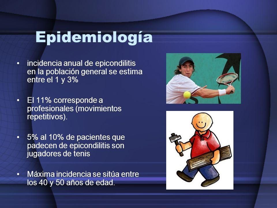 Epidemiología incidencia anual de epicondilitis en la población general se estima entre el 1 y 3% El 11% corresponde a profesionales (movimientos repe
