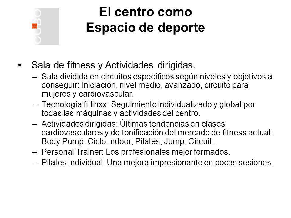 El centro como Espacio de deporte Sala de fitness y Actividades dirigidas.