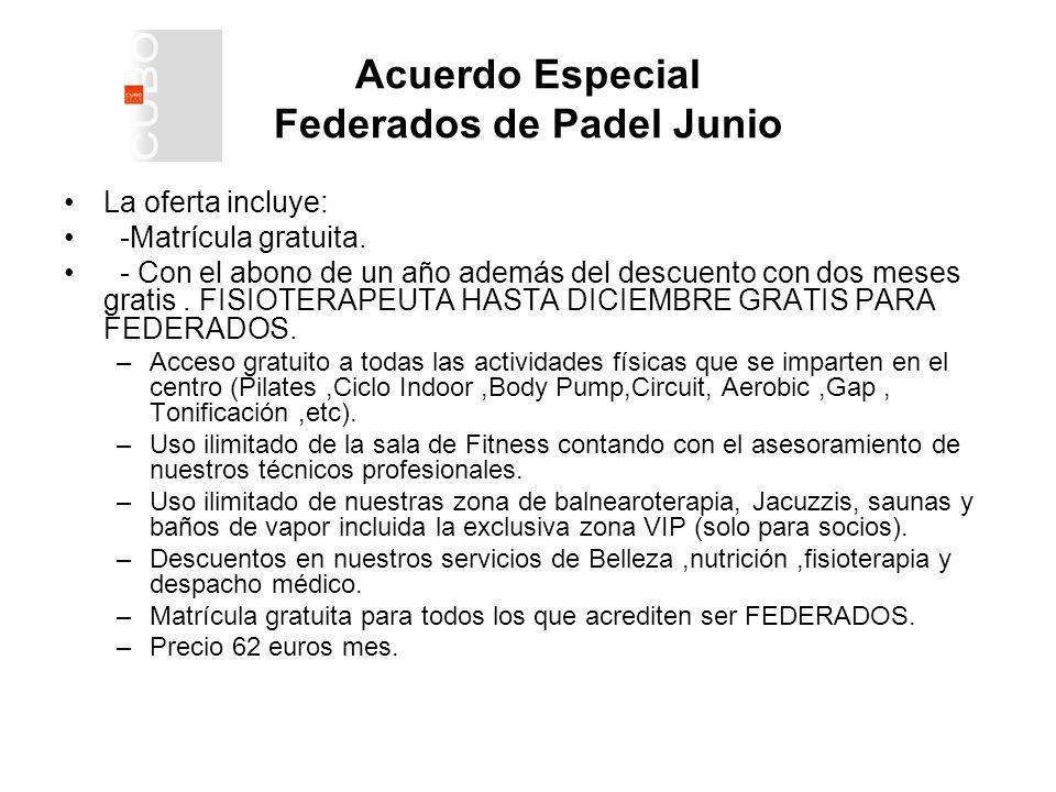 Acuerdo Especial Federados de Padel Junio La oferta incluye: -Matrícula gratuita.